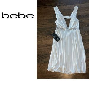bebe White Embellished Cutout Crystal Dress